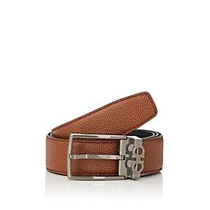 Salvatore Ferragamo Men's Reversible Leather Belt - Beige, Tan