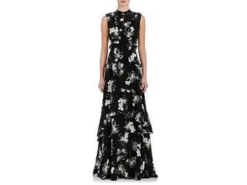 Erdem Women's Ruffle Floral Silk Crepe Gown