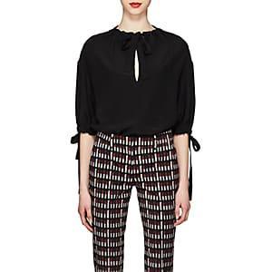 Prada Women's Silk Tieneck Blouse-black