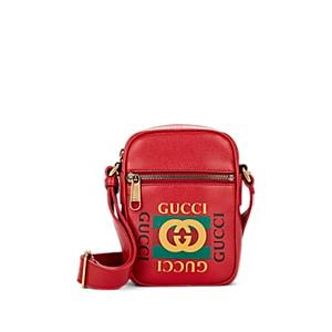 Gucci Men's Logo Leather Crossbody Bag - Red