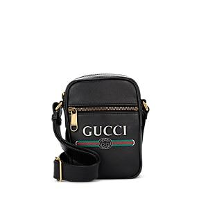 Gucci Men's Logo Leather Crossbody Bag - Black