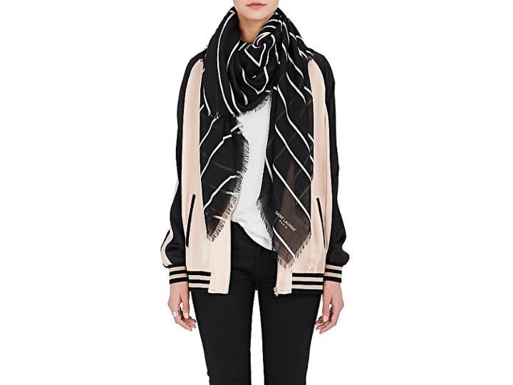 Saint Laurent Women's Geometric-pattern Wool Gauze Scarf