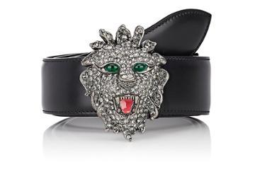 Gucci Men's Lion-head-buckle Leather Belt