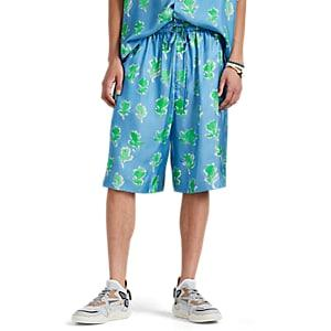 Prabal Gurung Men's Abstract-floral Silk Twill Basketball Shorts - Blue