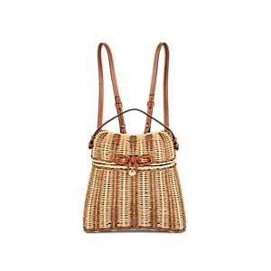Ulla Johnson Women's Taja Leather-trimmed Rattan Backpack - Neutral