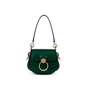 Chlo Women's Tess Small Crocodile-stamped Leather Shoulder Bag - Green