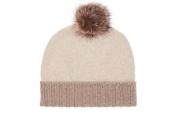 Barneys New York Men's Fur-pom-pom Cashmere Hat