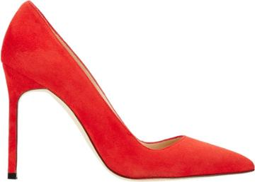 Manolo Blahnik Suede Bb Pumps-red