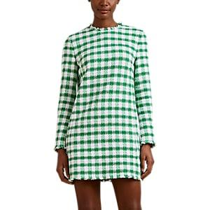 Thom Browne Women's Gingham Cotton-blend Tweed Shift Minidress - Green
