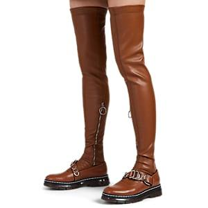 Cedric Charlier Women's Leather Over-the-knee Stockings - Med. Brown