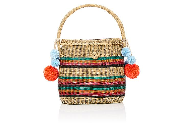 Sophie Anderson Women's Striped Wicker Basket Bag