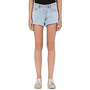 Off-white C/o Virgil Abloh Women's Cut-off Denim Shorts-lt. Blue