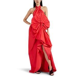 Martin Grant Women's Silk Taffeta Draped Halter Gown - Fuchsia