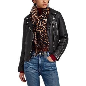 Saint Laurent Women's Leopard-pattern Wool Gauze Scarf - Neutral
