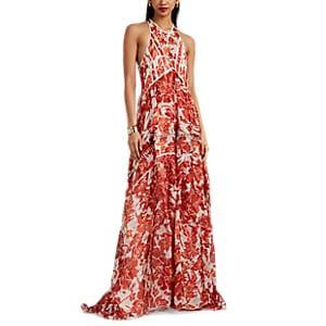 Altuzarra Women's Bellini Embellished Floral Silk Gown - Red