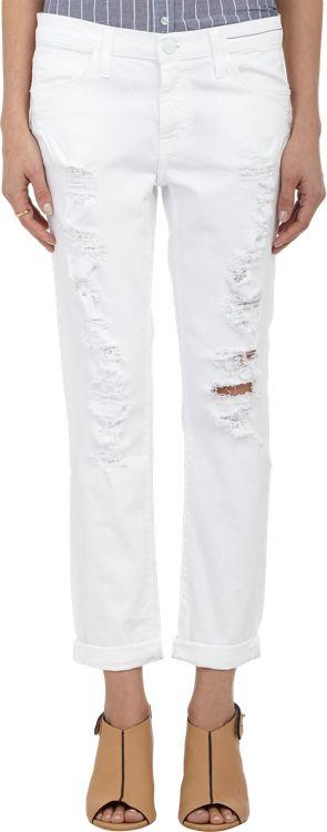 Current/elliott Distressed The Fling Jeans-white