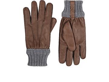 Barneys New York Men's Deerskin Rib-knit Gloves