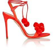 Aquazzura Pom-pom Ankle-tie Sandals-red