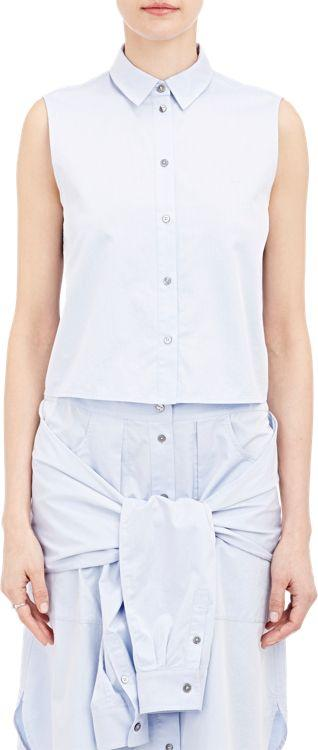 T By Alexander Wang Sleeveless Cropped Shirt-colorless