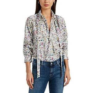 Needles Women's Floral Cotton Tieneck Blouse - White