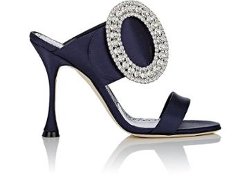 Manolo Blahnik Women's Fibiona Satin Slide Sandals