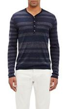 John Varvatos Striped Henley-colorless
