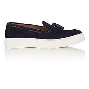 Barneys New York Men's Tasseled Suede Slip-on Sneakers - Navy