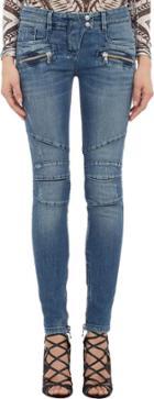 Balmain Distressed Skinny Moto Jeans-blue