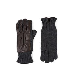 Barneys New York Men's Cashmere & Leather Gloves - Charcoal
