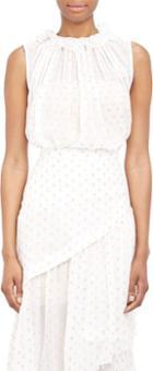 Stella Mccartney Lurex-applique Chiffon Top-white