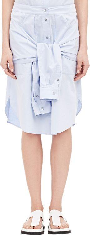 T By Alexander Wang Layered Tied-shirt Skirt-colorless