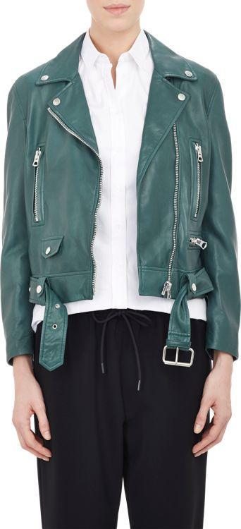Acne Studios Lambskin Moto Jacket-green