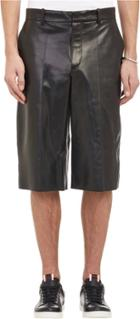 Alexander Mcqueen Smooth Leather Shorts-black