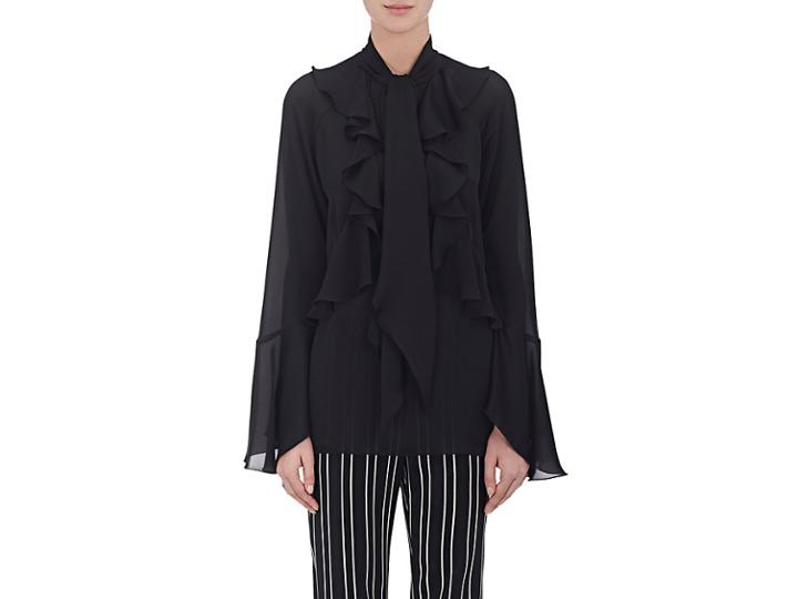 Givenchy Women's Charmeuse Ruffled Tieneck Blouse