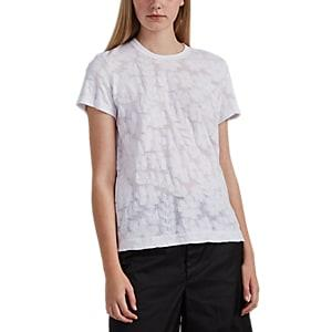 Comme Des Garons Women's Floral-burnout Cotton T-shirt - White