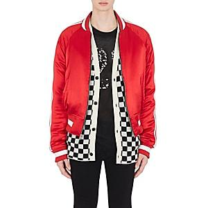 Amiri Men's Reversible Satin Bomber Jacket - Red