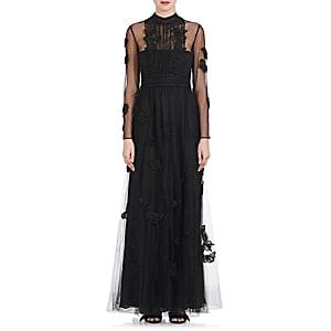 Valentino Women's Bead-embellished Tulle Gown-black