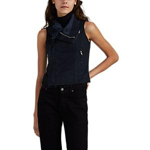 Rick Owens Women's Blistered Leather Biker Vest - Navy
