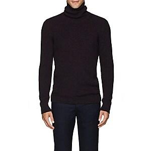 Fioroni Men's Mlange Cashmere Turtleneck Sweater - Navy