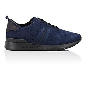 Tod's Men's Perforated Nubuck Sneakers-navy