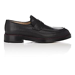 Paul Andrew Men's Castor Grained Leather Penny Loafers - Black
