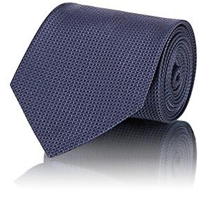 Brioni Men's Chevron-weave Silk Necktie - Navy
