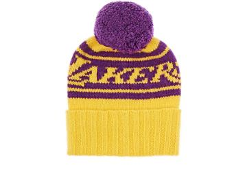 The Elder Statesman X Nba Women's Lakers Cashmere Pom-pom Beanie