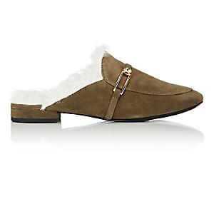 Stella Luna Women's Shearling-lined Suede Mules-olive