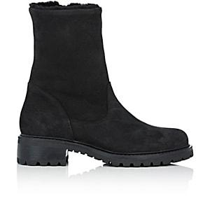 Barneys New York Women's Shearling-lined Nubuck Ankle Boots - Black