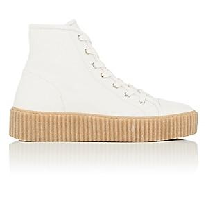 Mm6 Maison Margiela Women's Creeper-sole Leather Sneakers-white