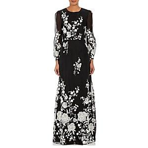 Co Women's Embroidered Mousseline Gown-white & Blk.