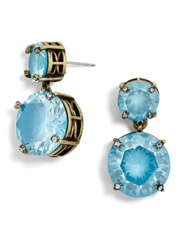 BaubleBar Petite Glass Drop Earrings-Teal/Greige