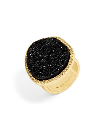 BaubleBar Misty Druzy Ring-Black