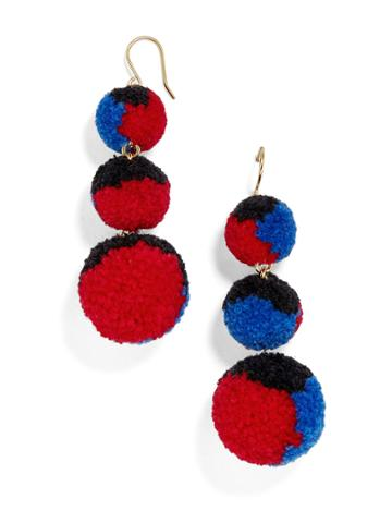 BaubleBar Pom Pom Crispin Ball Drop Earrings-Black/Cobalt/Red